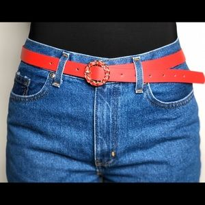 Red Belt with Gold Detail
